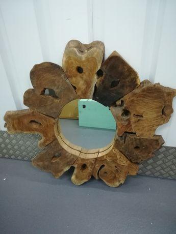 Espelho Grande Teka maciça Mirror Tek Wood - by OVO Home Design