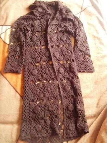 sweter długi ażurowy