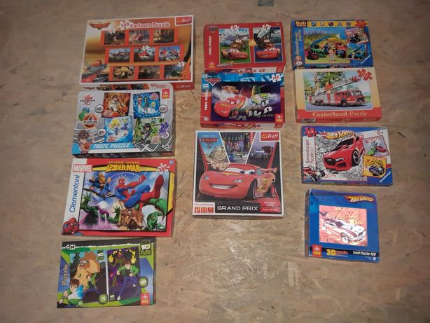 Puzzle zestaw dla chłopca, auta, samoloty itp