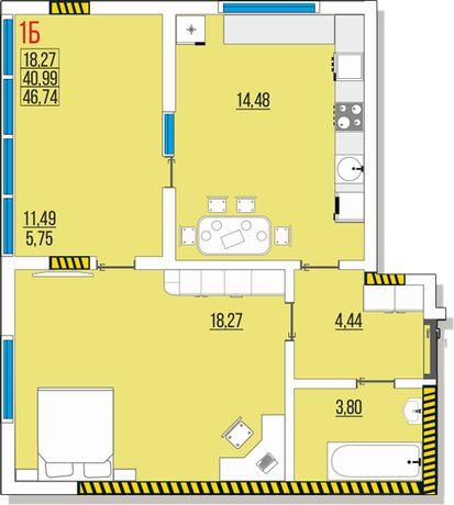 Ак. Глушко, Одесса, продам 1к квартиру 4 эт. 46,74 м. от застройщика.