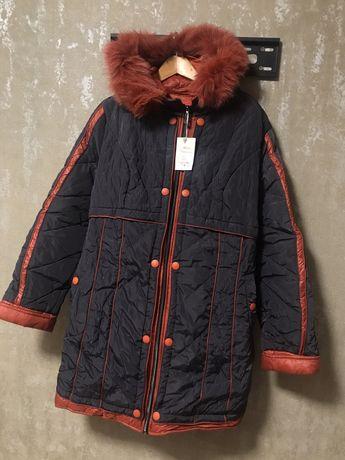 Пальто пуховик с натуральным мехом 54-56