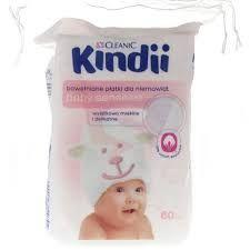 CLEANIC Kindii płatki kosmetyczne dla niemowląt, 60 sztuk