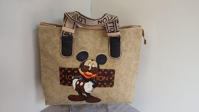 Torebka LV Louis Vuitton Myszka miki Mickey Mouse Shopperka taupe