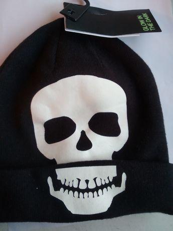 Czapka szkielet halloween czaszka czarna h&m