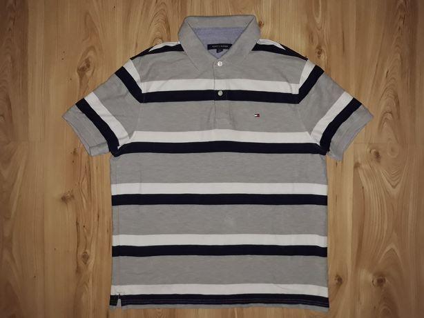 Koszulka męska Polo L Tommy Hilfiger USA paski THD