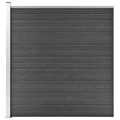 vidaXL Painel de vedação WPC 175x186 cm preto 148973