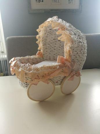 Wózek miniatura DUŻY na narodziny dziecka chrzciny ślub wesele