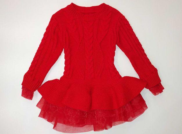 Красное теплое зимнее платье туника на 4 - 5 лет