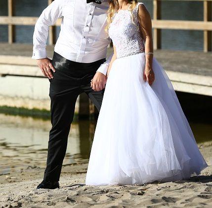 Suknia ślubna z bolerkiem,welonem. Jak nowa.piekna