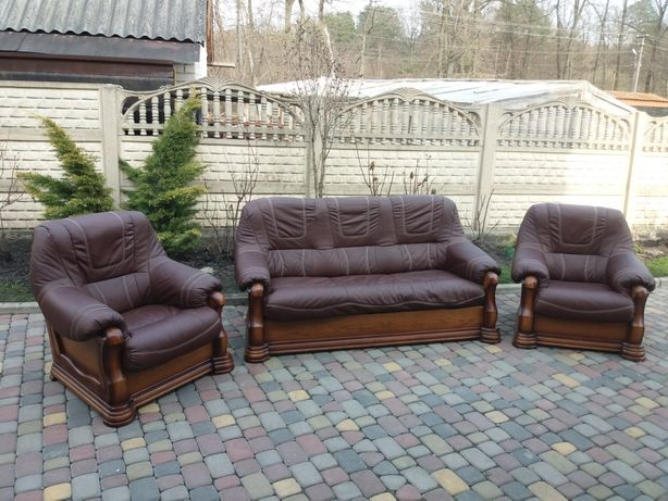 Шкіряний комплект кожаная мебель кожаний диван