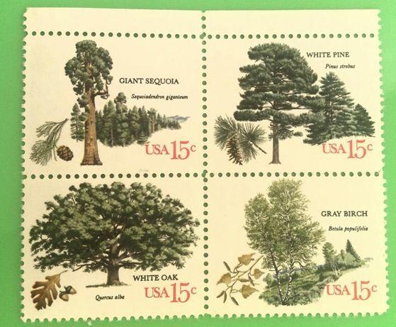 Znaczki - komplet 4 znaczków / drzewa USA