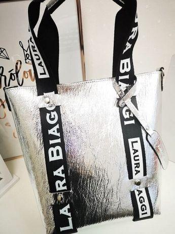 Torebka mini shopper bag Laura Biaggi srebrna