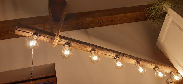 Lampa loft vintage retro rustykalna drewno lina jutowa