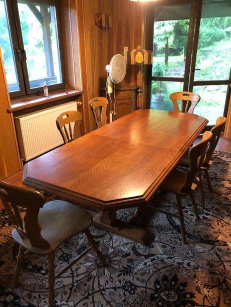 stół i krzesła - jadalnia-salon-rozkładany-dąb rustykalny