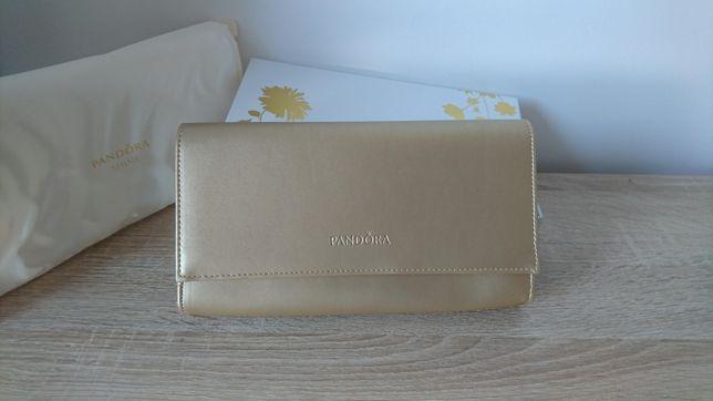 Złota kopertówka Pandora unikatowa nowa torebka