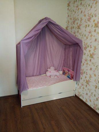 Кровать детская 140х70 с ящиком пружинным матрасом балдахином. Дисней.