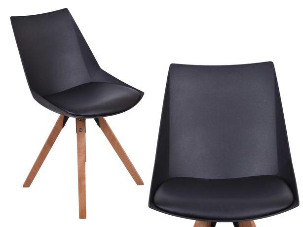 Krzesło do jadalni kuchni drewniane nogi ALIA czarna czarne