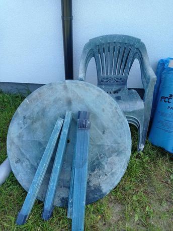Stół i 3 krzesła ogrodowe plastikowe na budowę budowa