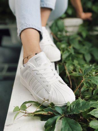 Кроссовки белые total white Adidas Superstar White & Black