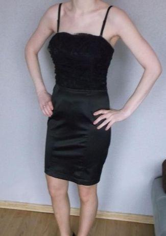 Czarna sukienka mini, sylwester, andrzejki, studniówka, półmetek