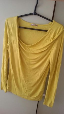 Nowa bluzka lejący dekolt żółta długi rękaw Orsay XS