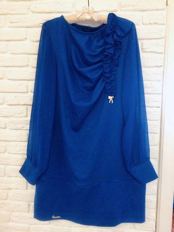 Трикотажное платье с шифоновыми рукавами 46р