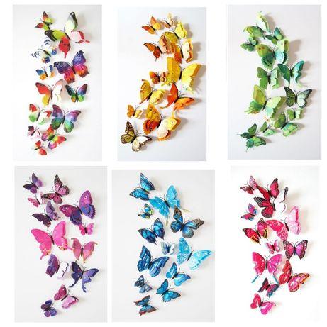 Бабочки наклейки стикеры декоративные магнитные 3D объемные на стену