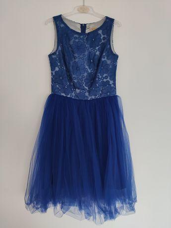 Chabrowa niebieska tiulowa sukienka w kwiaty ROU r. 38