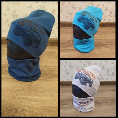 Трикотажный набор шапка с хомутом для мальчиков 50/53 размер