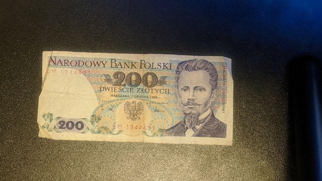 Banknot 200 zł 1988 r. lustrzane odbicie