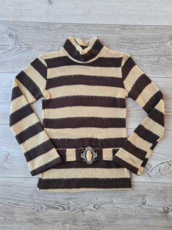 Sweter dziewczęcy beżowo-brązowy - rozmiar 140, NOWY