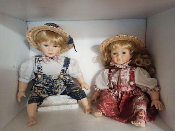 Lalki kolekcjonerskie porcelana 2 sztuki chłopiec dziewczynka stan bdb