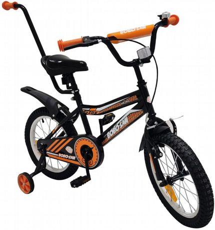 Rowerek rower BMX dziecięcy 16 cali kółka boczne pchacz pomarańczowy