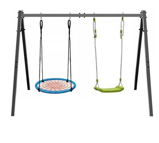 Huśtawka  dla dzieci ogrodowa stelaż podwójna+bocianie gniazdo