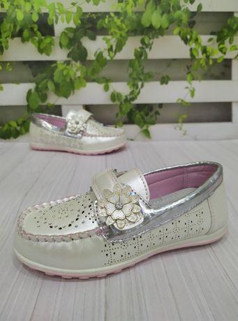 Туфли-мокасины для девочки Y-Top с 21р по 31р белые, розовые, серебрис