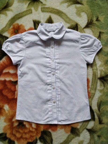 Белая школьная блуза для девочки 7-8 лет