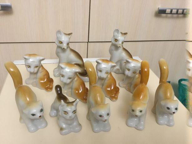 Полонский завод фарфор лиса лис тигр кіт кот рись рысь