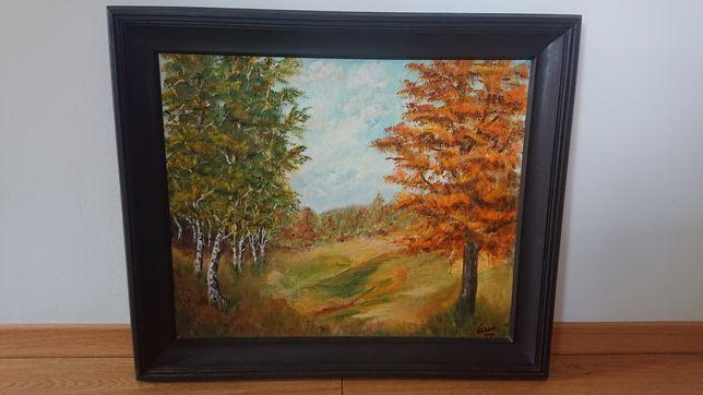 Obraz olejny pejzaż wiejska droga jesień