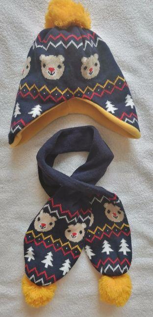 Зимний набор комплект шапка+шарф на флисе Waikiki