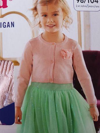 Sweter dziewczęcy typu cardigan, bolerko 98/104cm różowy