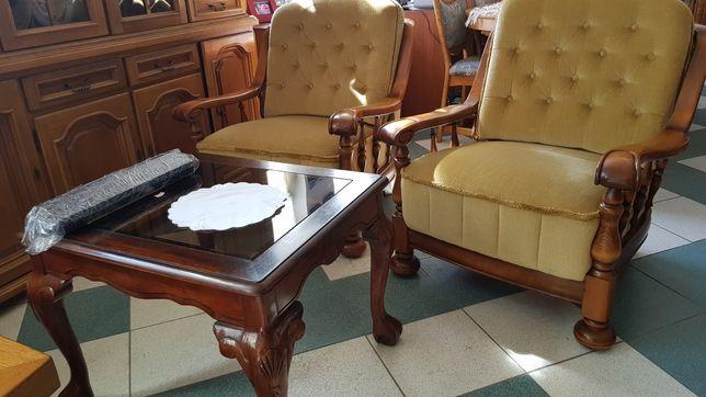 Sofa 3os.i 2 fotele dębowe na spręźynach