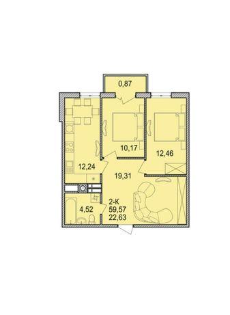 Продаю 2ну квартиру (як трьохкімнатна) 59м2