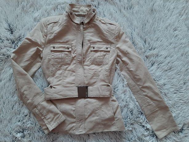 Zara Basic kurtka wiosenna S/36 ramoneska beżowa