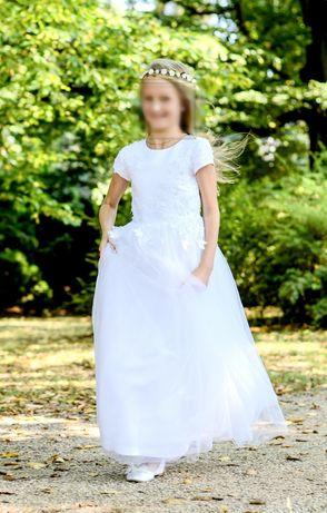 Sukienka suknia komunijna 134 140 ręczne aplikacje bolerko zestaw