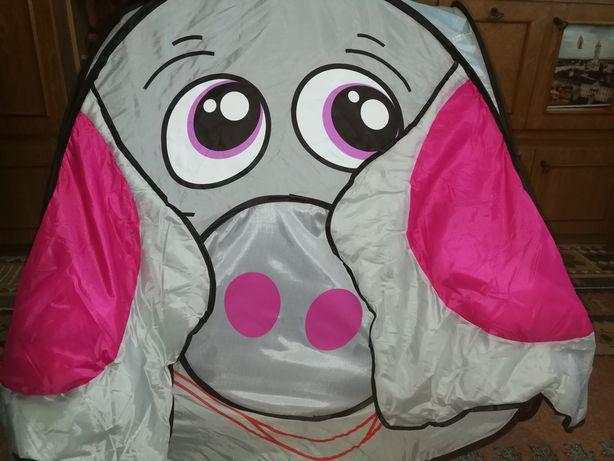 Палатка слоник с тоннелем и шариками