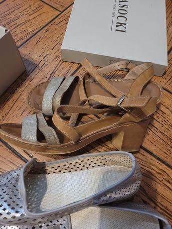 2 pary butów sandały plus srebrne ażurowe balerinki 39