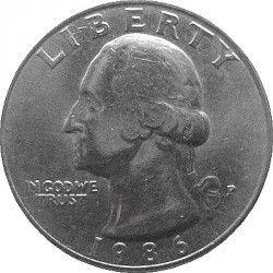 MOEDA - EUA - 1/4 Dólar, 1986