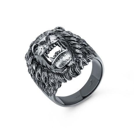 Мужской перстень серебро Лев украинский производитель Киев 19 размер