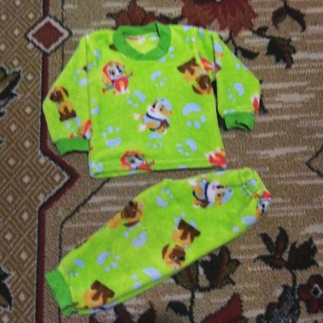 Очень тёплая детская пижама велсофт для девочки