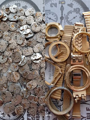 Graty ze starej chaty_stare zegarki_zestaw części, złom kopert i werk.